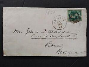 Georgia: Marietta 1880 3c Banknote Cover, Fancy Negative M Cancel, Cobb Co