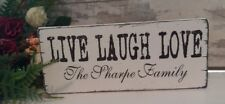 Personalised Live Laugh Love Family Plaque Distressed Shabby Vintage Chic Sign
