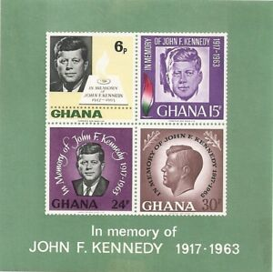 Ghana - In Memory of John F.Kennedy 1917-1963 ~ A-64 12/16/65 OG