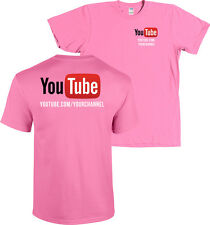 YouTube Channel CUSTOM URL Shirt Front & Back Print - MORE COLORS
