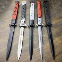 "TAC FORCE 13"" Extra Large HARDWOOD Spring Assisted Open STILETTO Pocket Knife"