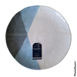 "Nautica Melamine Dinner Plates Set of 4 Shades Of Blue Outdoor Indoor Dining 11"""
