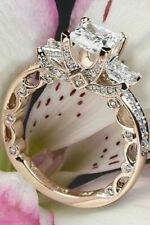 White Stone Studded Bridal Engagement Ring 925 Sterling Silver 5 Ct Princess Cut