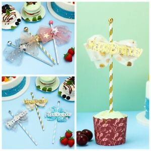 Insert Bow Glitter Fairy Stick Happy Birthday Cake Toppers Cupcake Plug-in