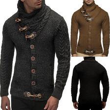 Herren Strickshirt Sweats Pullover Horn Button Sweater Jacke Turtleneck Winter
