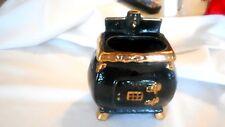 Vintage Wall Pocket Black Ceramic Pot Belly Stove Flower pot Shiny Gold Trim