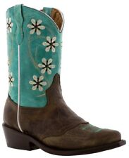 Girls Turquoise Brown Flower Embroidery Western Leather Cowgirl Boots Snip Toe
