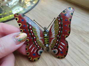 BEAUTIFUL VINTAGE ART DECO EARLY CELLULOID BUTTERFLY BROOCH