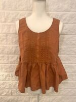 Vanessa Virginia Anthropologie Peplum Top Orange Flowy Sleeveless Size 6 EUC! B2