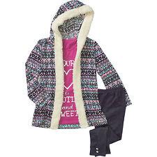Self Esteem Girls Top w/Sherpa Trimmed Novelty Sweater Hoodie & Leggings 4-5 XS