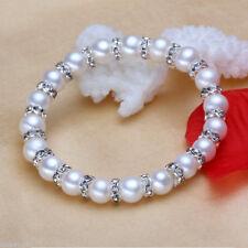8mm White Akoya Shell Pearl Round Beads + Rhinestone Gems Bangle Bracelets AAA