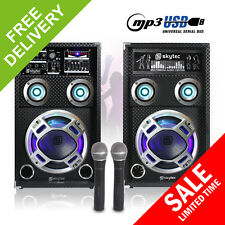 "Pair Skytec 8"" PA Active Speakers LED Karaoke DJ Disco Party Microphones 600W"