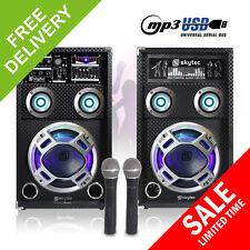 "Pair Skytec 8"" PA Active Speakers LED Karaoke DJ Disco Party Microphones 600W"