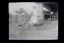 La femme à la bicyclette Grande Plaque négatif 9x12cm