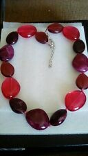 long fashion red glass & jasper gemstone 19' necklace
