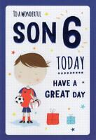 Son Age 6 6th Boy Football Star & Gifts Design Happy Birthday Card Lovely Verse