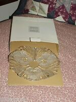 Mikasa Frosted Flower Clear Glass Serving Dish Fluted Ruffle Tray W/Box New