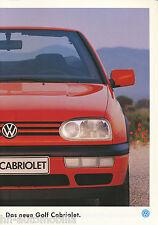 VW Golf Cabriolet Prospekt 1994 4 94 brochure Autoprospekt Auto PKWs Deutschland