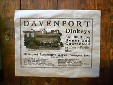 "(504) RAILROAD DAVENPORT DINKEYS STEAM TRAIN LOCOMOTIVE IOWA 1914 RR AD 14""x11"""