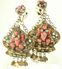 1920'S VINTAGE INDIA MIDDLE EASTERN CORAL TURQUOISE EXOTIC DANGLING EARRINGS