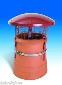 Colt Chimney Pot Rain Top Cowl c/w Strap, Bird Guard, Terracotta Colour - CT65