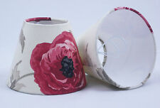 6 Candle Lampshades in Laura Ashley Freshford Poppy Fabric