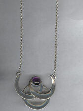 Blue Moon Silver Necklace Triple Moon Necklace w/ Amethyst Lovely!