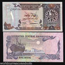 QATAR CENTRAL BANK 1 RIYAL P14a 1996 1st TYPE UNC BOAT EMIR CURRENCY BILL NOTE
