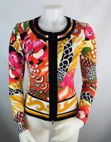 Joseph Ribkoff Womens 4 Multi Color Floral Zip Cardigan Jacket Blazer Stretchy