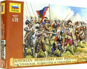 ZVEZDA 1:72 SOLDATINI DA COLORARE AUSTRIAN MUSKETEERS AND PIKEMEN XVII  ART 8061