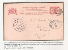 21) Curacao Stationery postcard 1908 (G#18)  Paquebot to Assen