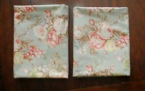 Ralph Lauren Charlotte Sage Green Floral King Size Bed Pillow Shams Flanged Edge