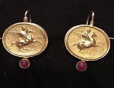 Intaglio,Tagliamonte Earrings,18kt Solid Gold ,Ruby,  (Comp.Elizabeth Locke)