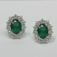 2.40CT Emerald and Diamond Earrings F SI in 18K White Gold