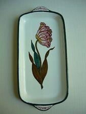 Grazia Deruta Italy RELISH PLATE  w/ Flower Teal Green Trim Italian Pottery