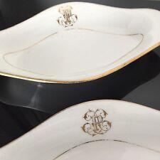 2 Coupelles en Porcelaine de Paris Monogramme P NAPOLEON III XIXè TBE Raviers