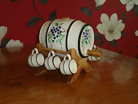 Ceramic Sherry/Wine Barrel on Stand with 6 Cups - Collectable Pottery