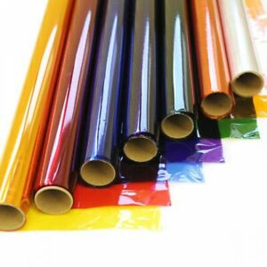 50CM / 80CM WIDE COLOURED CELLOPHANE TINTED FILM CRAFT GIFTS FLORIST WRAP!!
