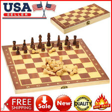 Wooden Chess Set International Chess Entertainment Game w/Folding Board NEW Q8Y0
