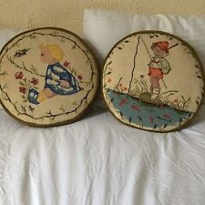 """Vtg 2PC needlepoint throw pillows HUMMEL handmade round green velour14""""D boy gir"""