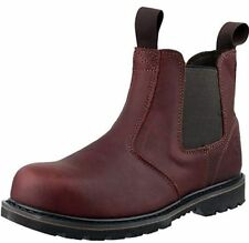 Safety Boots, Amblers Steel FS155 Mens Safety Boots, Leather, Brown Slip On UK 9