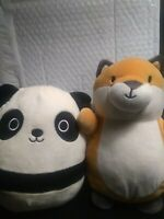 Squishmallow Hug Mees 11 inch  Fox and 8 inch panda used plush free shipping