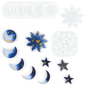 3pcs DIY Star Sun Moon Epoxy Silicone Molds Jewelry Making Handmade Resin Mould