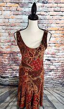 NWT LRL Ralph Lauren Sleeveless Brown Floral Cotton Blend Casual Dress Sz XS NEW