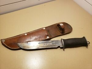 WWII EGW Military Fighting Knife w/ Leather Layered Handle & Leather Sheath