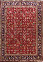 Vintage All-Over Floral Tebriz RED/ NAVY Area Rug Hand-knotted Wool Carpet 10x13