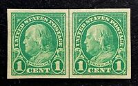 US Stamps, Scott #575 imperf 'lined' pair 1c 1923 XF/S M/NH. Balanced margins.
