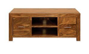 TV Cabinet Unit Stand Solid Plasma Bench in Cube Petit Dark Sheesham