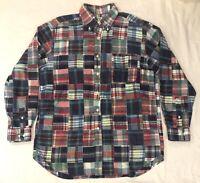 Brooks Brothers Madras Patchwork Plaid Long Sleeve Shirt Size Medium Men's