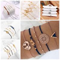 Conjunto de joyas de mujer Pulseras de cadena de cristal de piedra cuerda moda